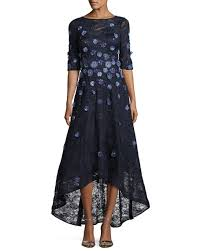 rickie freeman for teri jon floral lace high low cocktail dress navy