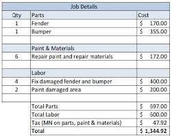 Paintless Dent Repair Estimate Sheet by Estimate About Autos