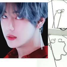 bts earrings 1piece korea pop bts bangtan boys v dna mv stud earrings tassel