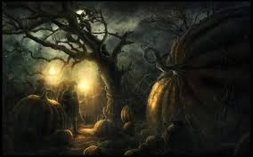 evil halloween background overgrown pumpkins wallpaper background 20655