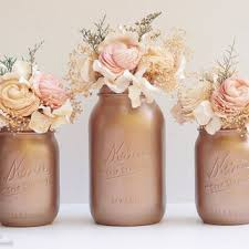 Home Decor Centerpieces Rose Gold Decor Painted Mason Jars Fall Home Decor Wedding Vase