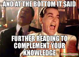 Meme Knowledge - and at the bottom it said further reading to complement your