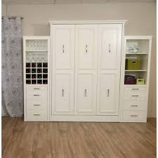 queen murphy bed cabinet gabriella queen murphy bed with storage wine cabinet in white by