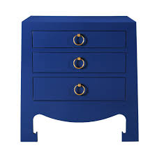 white stained bed side table with three drawer and rounded bungalow 5 jacqui 3 drawer side table navy blue