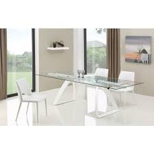 Tempered Glass Dining Table Modrest Harvey Modern Extendable Glass Dining Table