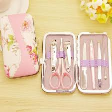manicure set favors 50sets 7 in 1 rattan flower printing nail clipper scissor kit