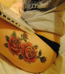 rose tattoo upper thigh i like the size but i would make the
