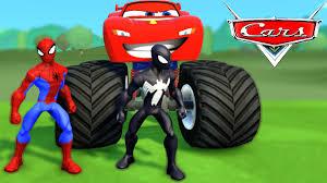 monster truck videos youtube monster trucks mcqueen cars u0026 spiderman car spider man colors