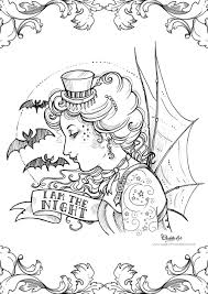 colouring page alice in wonderland gothic kawaii