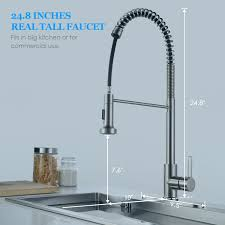 Long Reach Kitchen Faucet Kitchen Faucet Brushed Nickel Sarissa Modern Commercial High Arc
