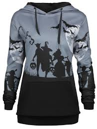halloween plus size shirts plus size halloween moon bat print hoodie with pocket gray xl in