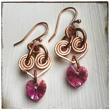 vire earrings pink hearts swarovski copper wire earrings rhonda
