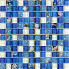 glass mosaic tiles blue crystal resin with conch kitchen