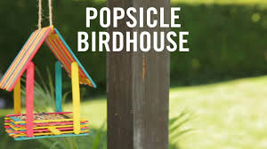 turn popsicles into an adorable bird house babble
