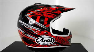 custom painted motocross helmets arai vx3 motocross helmet brisk red 360 video youtube