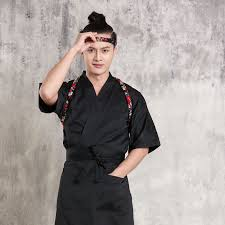 blouse cuisine japanese cuisine serving sushi shop waiter workwear restaurant