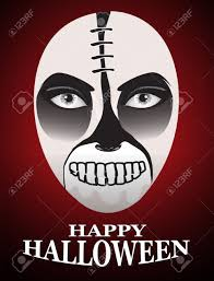 halloween horror background woman in day of the dead mask ghost face art and red horror