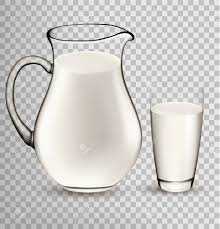 cartoon beer no background natural whole milk in jug and glass isolated on transparent