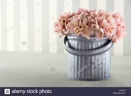 apricot color carnation flowers in a metal bucket on vintage
