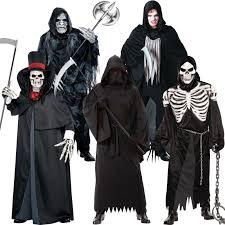 Grim Reaper Costume Mens Halloween Grim Reaper Fancy Dress Costume Phantom Soul