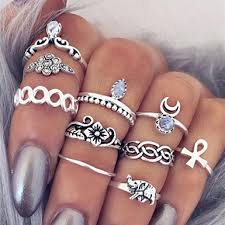 ring set multi themed 10 knuckle ring set