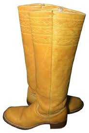 yellow boots s frye yellow black label cus vintage 70 s stitching banana