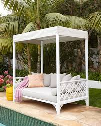 furniture interesting white outdoor daybed with canopy and yellow