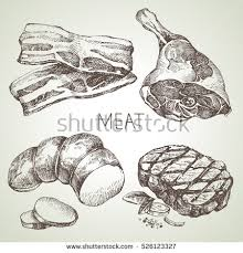 hand drawn sketch meat products set stock vector 526123327