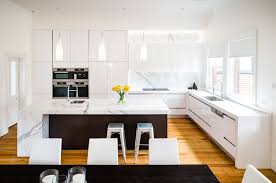 kitchens with island benches modern kitchen timber floor island bench white white