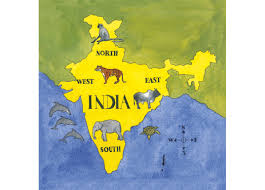 North India Map by A Map Of India Marking The Four Directions And Animals Specific To