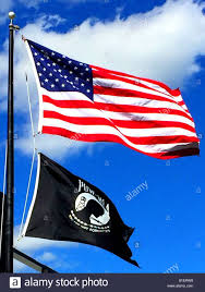 Blue White And Black Flag American Flag And Pow Mia Prisoner Of War Missing In Action Flag