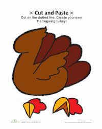 cut and paste turkey worksheet education