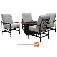 Slipcovers For Patio Furniture Cushions by Hampton Bay Niles Park 5 Piece Gas Patio Fire Pit Seating Set With