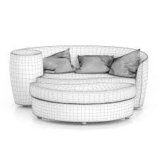 wicker sofa with footrest 3d model from cgaxis
