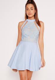 mesh stripe lace top skater dress powder blue missguided