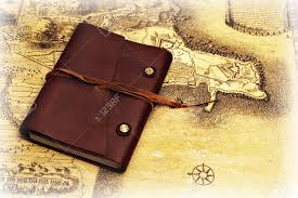Leather Map Trip Backrgound With An Old Leather Diary And A Map On The