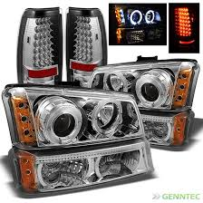 2004 silverado tail lights for 03 06 chevy silverado twin halo led pro headlights bumper led
