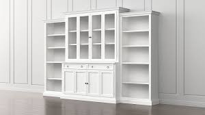 cameo 4 piece white glass door wall unit w open bookcases crate