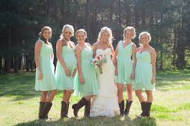 bridesmaid dresses with cowboy boots winter wedding ideas