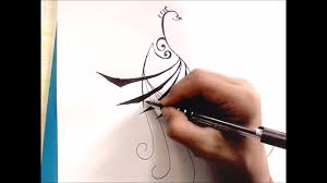 draw peacock tattoo design step by step youtube