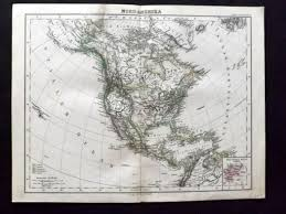 Nord America Map by Stieler 1881 Antique Map Nord America North America