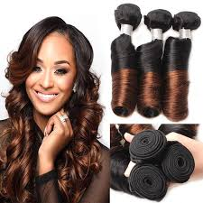 ombre weave mink hair light brown ombre curl human hair bundles