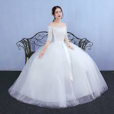 white wedding gowns white slash neck solid ankle length gown wedding dress