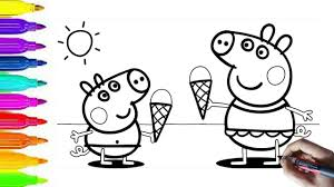peppa pig coloring pages peppa and alexander pig ice cream