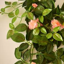 Home Garden Decoration Silk Roses Handing Wall Garland Flower Vines Rattan Plants For