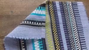 Rag Rug Runner Upholstery Fabric Blue Rep Weave Woven On Looms Table Runner