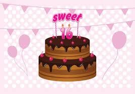free sweet 16 birthday cake illustration download free vector