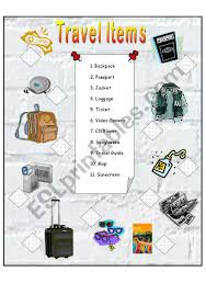 Travel items esl worksheet by anna p