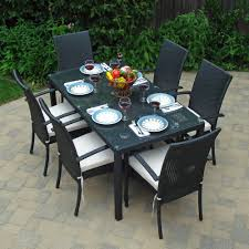 Classic Accessories Patio Furniture Covers by Patio Dining Set Black Wicker Clear Glass U0026 Umbrella Hole Ebay
