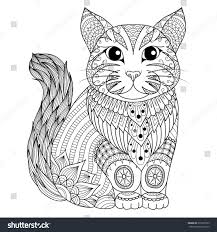 drawing zentangle cat coloring page shirt stock vector 375300103